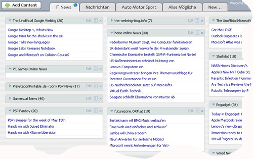 Startseite pageflakes RSS Portal (nun auf Netvibes geändert)