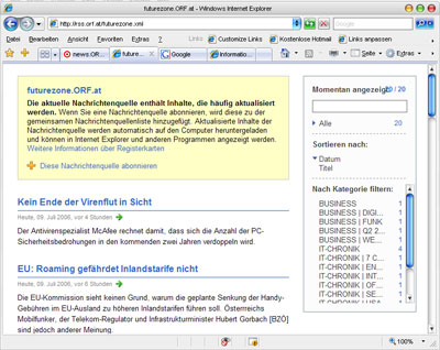 IE7 RSS Reader