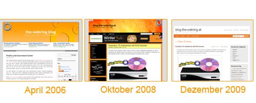 Unterschiedliche WordPress Themes über die Jahre