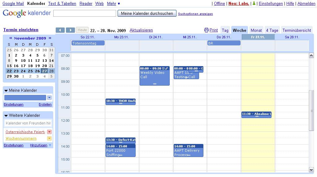 Google Kalender Wochennummern