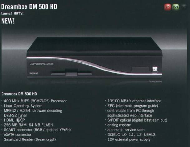 Dreambox DM 500 HD – neue HD Box von Dream