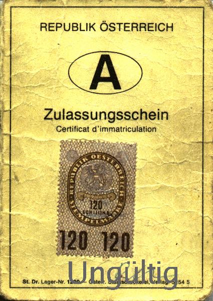 Scheckkarten Zulassungsschein