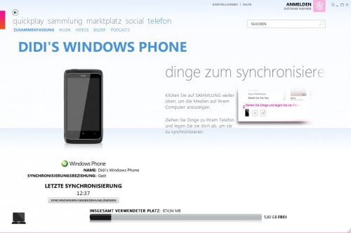 Microsoft Zune Windows Phone connected